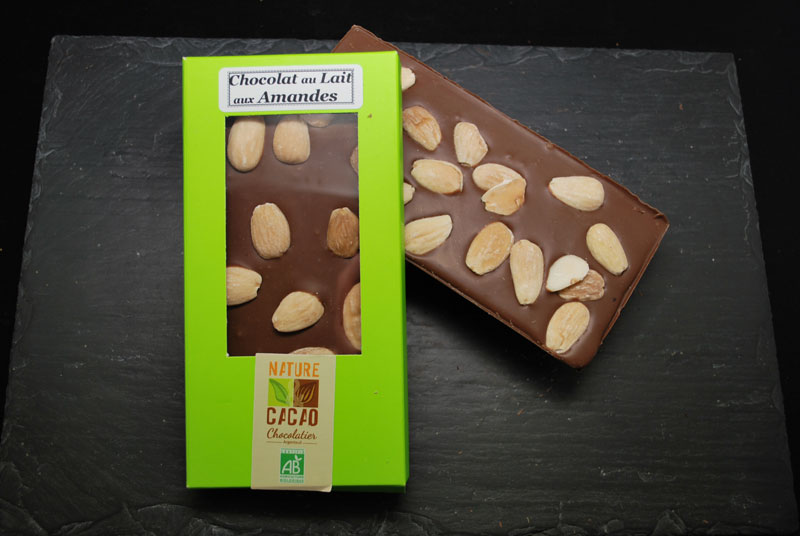 Lot de 3 tablettes chocolat au lait aux amandes nature cacao chocolats bio de fabrication - Amandes grillees sucrees ...